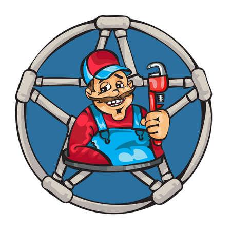 handyman cartoon: This man - a plumber, handyman , will help you.