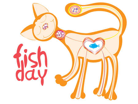 loves: cute cat who loves to eat fish,vector Illustration