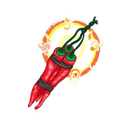 brandweer cartoon: Deze chili peper, de echte bom, zal opblazen je mond Stock Illustratie