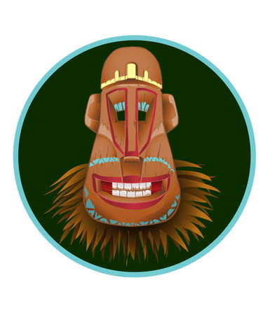 Totem Mask as a cheerful person with a bald head.vector