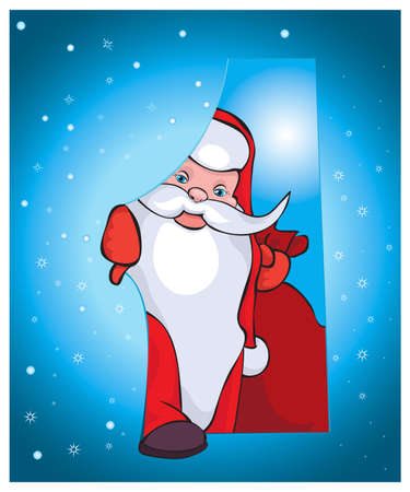 one year old: This Santa comes to your house with beautiful gifts.Vector Illustration