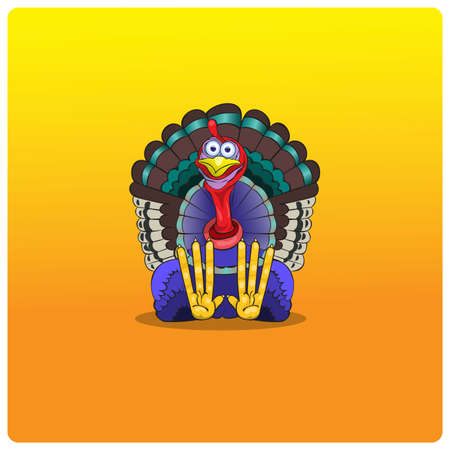 sits: The multi-colored turkey-cock sits and waits for Thanksgiving Day.Vector