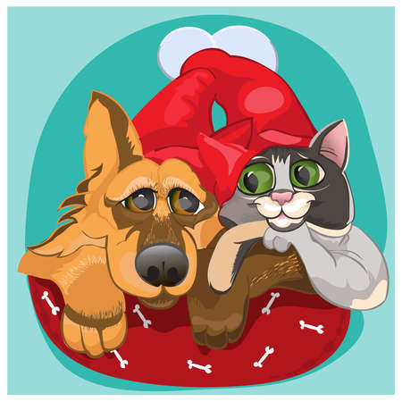 chasing tail: Cat and dog waiting for new year and tasty food.Vector Illustration