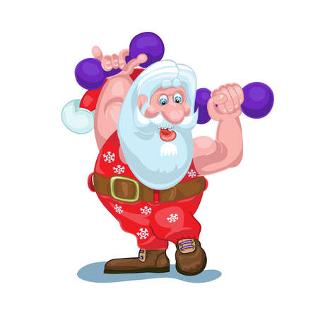 Santa is going to carry gifts, plays sports.Vector Illustration