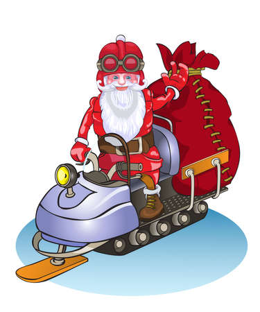 santa s helper: Santa goes on a snowmobile, it is lucky people gifts.Vector