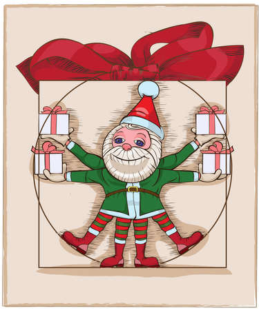 elfs: Illustration of many elfs with presents.Vector  illustration