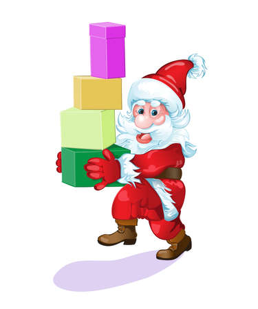 Santa with gifts hurries to please all people.Vector