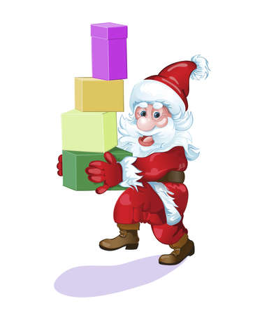 Santa hurries to the  friends with beautiful gifts.Vector Ilustrace