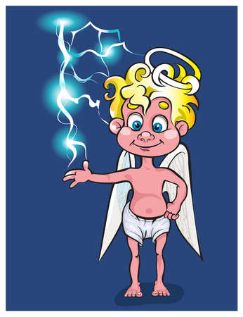 causal: The lovely angel plays with a small lightning.vector Illustration