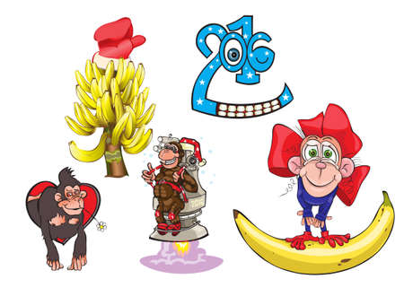 animales del bosque: Monkey - a symbol of year and a banana fir-tree.vector