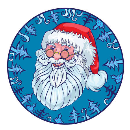 gente hablando: Cheerful Santa in a blue circle from fir-trees.vector