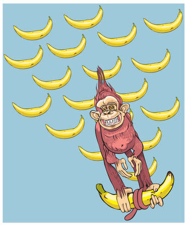 jungle animal: The symbol of year - a monkey with bananas, hurries to you.vector Vectores