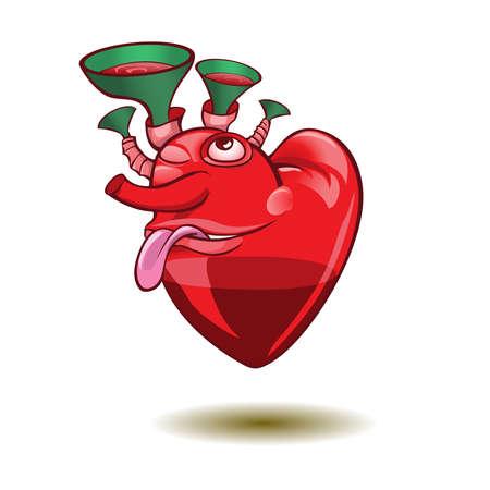 valentin: Smiley thumb up heart. illustration.Saint Valentin Illustration