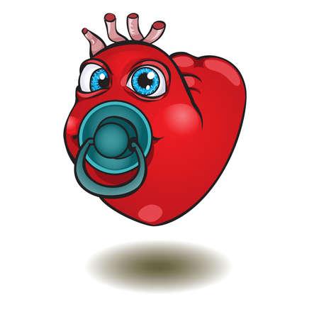 smiley pouce: Smiley thumb up heart.illustration.Saint Valentin