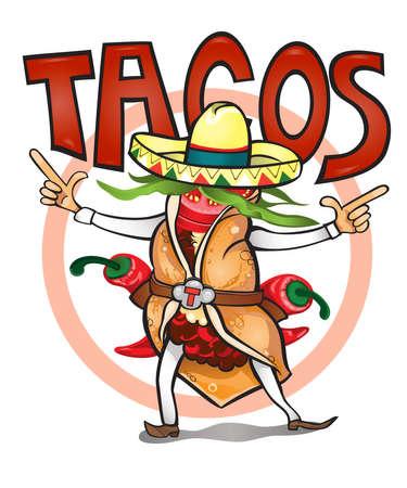 Llegó a comer el tiempo ilustración sabrosa tacos.vector Foto de archivo - 52062873