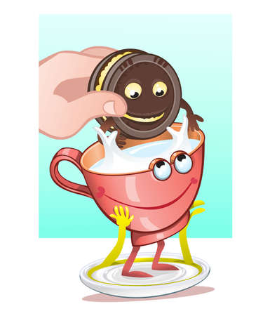 milk and cookies: Chocolate cookies and milk, ideal combination.vector illustration