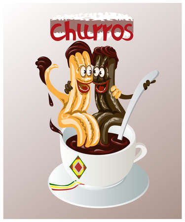 Cartoon vector illustration of the traditional Spanish pastry called churros