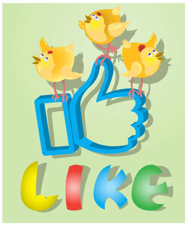 caller: Like for Easter holiday with three chickens.vector Illustration