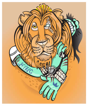 seventh: Leo, representative of the seventh month in a horoscope.vector
