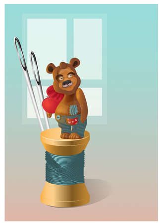 illustration of teddy bear in different pose for love background.vector