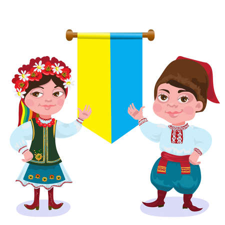 Ukrainians. The man and the woman against a flag.vector