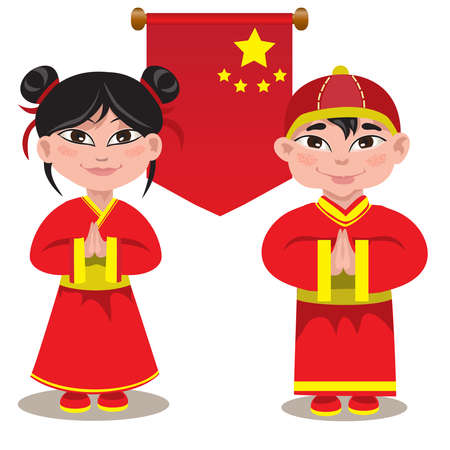 Illustration of a male and a female Chinese on a white background