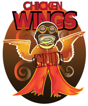 Wings a grill in the form of the cowboy from the wild West