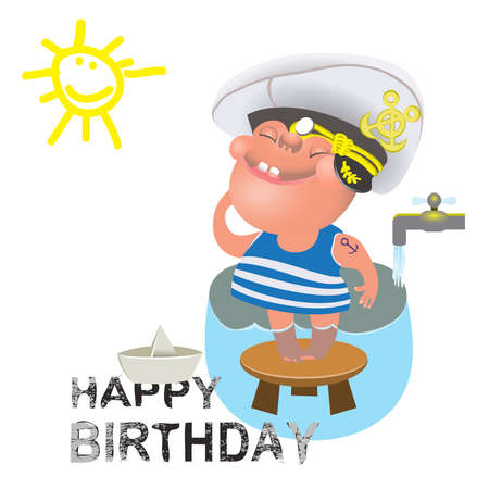 Birthday greetings for a sailor. Illustration