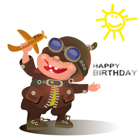 Birthday greetings for the pilot. The Vector illustration Illustration
