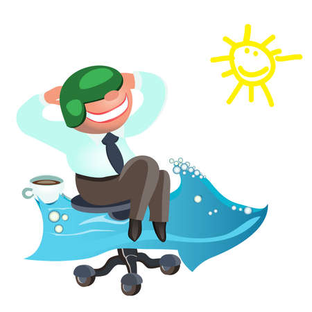 Businessman dreams as soon as possible to go on vacation to the sea.vector Illustration