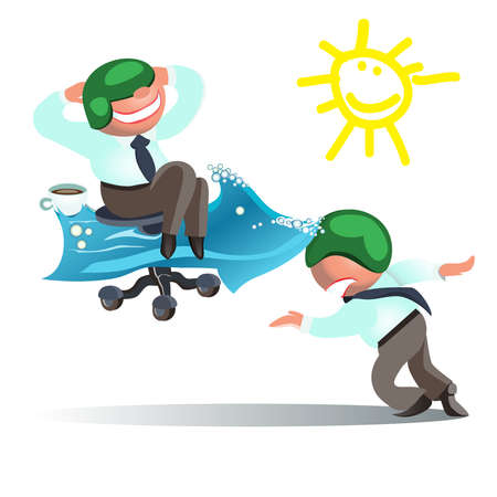 perseverance: Businessman Run to Goal, Time and Way to Success Concept.vector