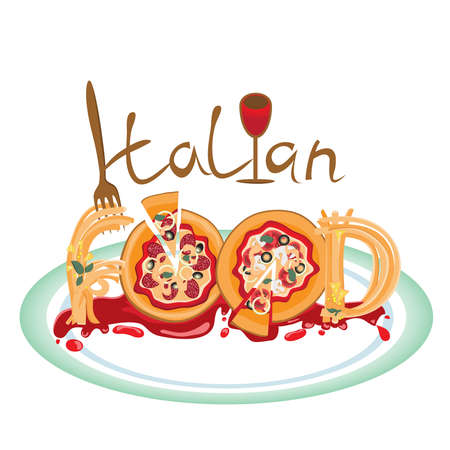 food plate: a plate of delicious Italian food, pizza and spaghetti.vector Illustration