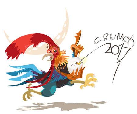 animal cock: illustrazione vettoriale di gallo, simbolo del 2017 sul calendario cinese. Silhouette di gallo rosso, decorato con motivi floreali. Elemento di vettore per il design nuovo anno s. Immagine del 2017 anno del Gallo Rosso.