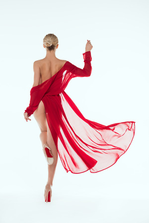 beautiful girl posing in red