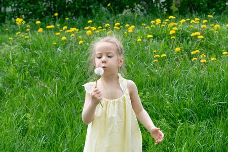 little girl with dandelion dress Standard-Bild - 122777874
