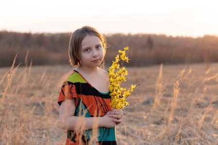 girl in spring dress Stock Photo