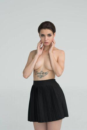 young beautiful girl posing nude in studio Stock Photo