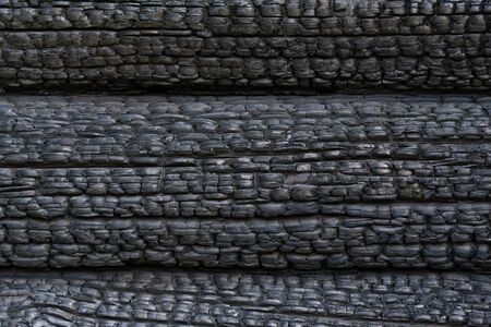 texture of black burned wooden log wall outside