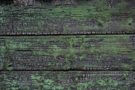 texture of black burned wooden log wall outside Banque d'images