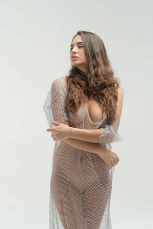 young beautiful girl posing nude in the studio, standing in a transparent dress Reklamní fotografie