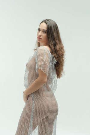 young beautiful girl posing in the studio, standing in a transparent dress Foto de archivo