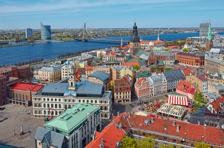 Aerial view to old town of Riga, Latvia