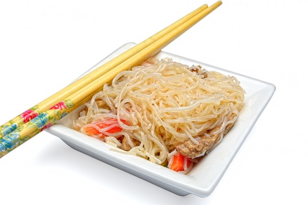Close-up view to Cellophane noodles (also known as Chinese vermicelli, bean thread noodles, crystal noodles or glass noodles) in dish against white background.