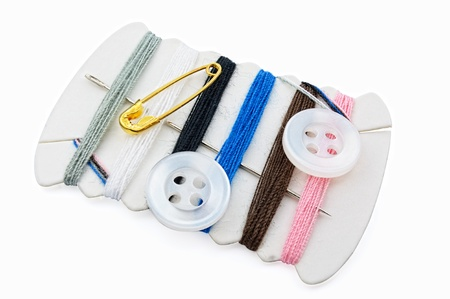 Small sewing kit against white background