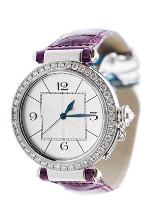 Ladies luxury wrist watch on white background