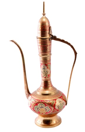Old brass oriental vase with handmade engraving photo