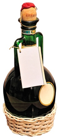 Green bottle with blank label sealed a cork with red sealing wax and rope on white background photo