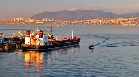 Loading of oil in a tanker in oil terminal Stock Photo