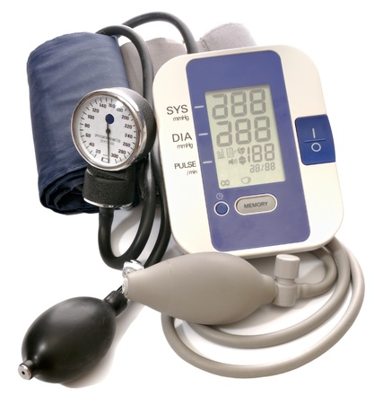 Close-up view to analog and digital blood pressure manometer on white background. Not isolated, studio shot Stok Fotoğraf