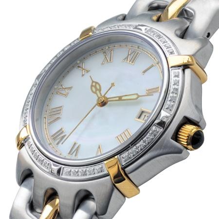 luxury watch: Mens wrist watch on white background. Studio shoot. Stock Photo